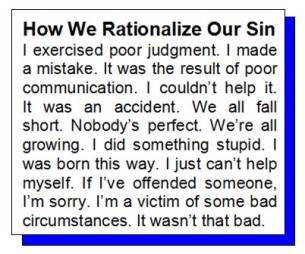 how we rationalize our sin