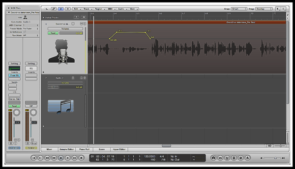 A screenshot of logic pro of an audio track being boosted using the Automation Tool